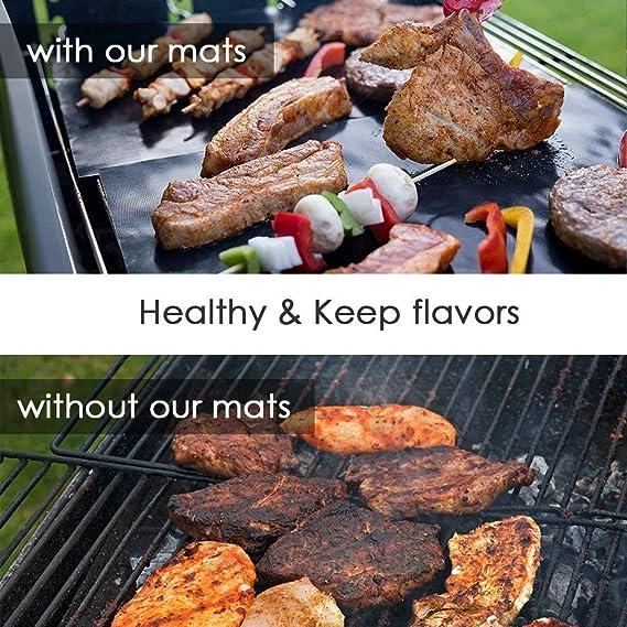 POAO 3 Piezas BBQ Alfombrilla para grill, Reutilizable, duradero, resistente al calor (500ºF), para horno, grill, parrilla y barbacoa 40*33CM: Amazon.es: ...