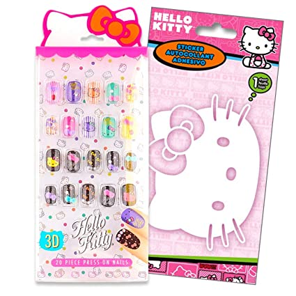 Amazon.com: Hello Kitty - Juego de uñas decorativas 3D con ...