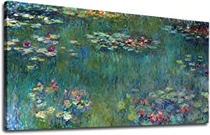 """yearainn Canvas Wall Art Water Lilies by Claude Monet Panoramic Scenery Painting - Long Green Garden Canvas Artwork Reproductions Contemporary Nature Picture for Home Office Wall Decor 20"""" x 40"""""""