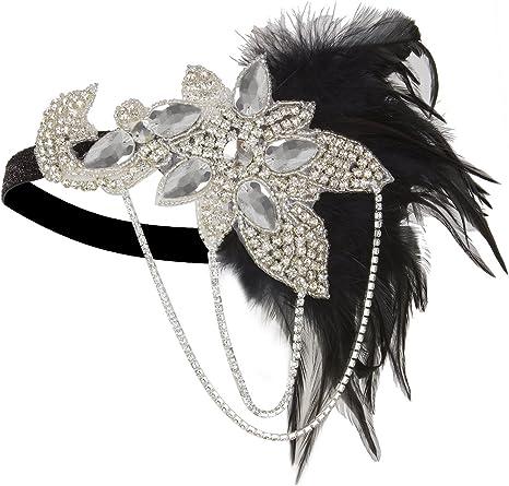 VIJIV Black 20s Headpiece Vintage 1920s Headband Flapper Great Gatsby