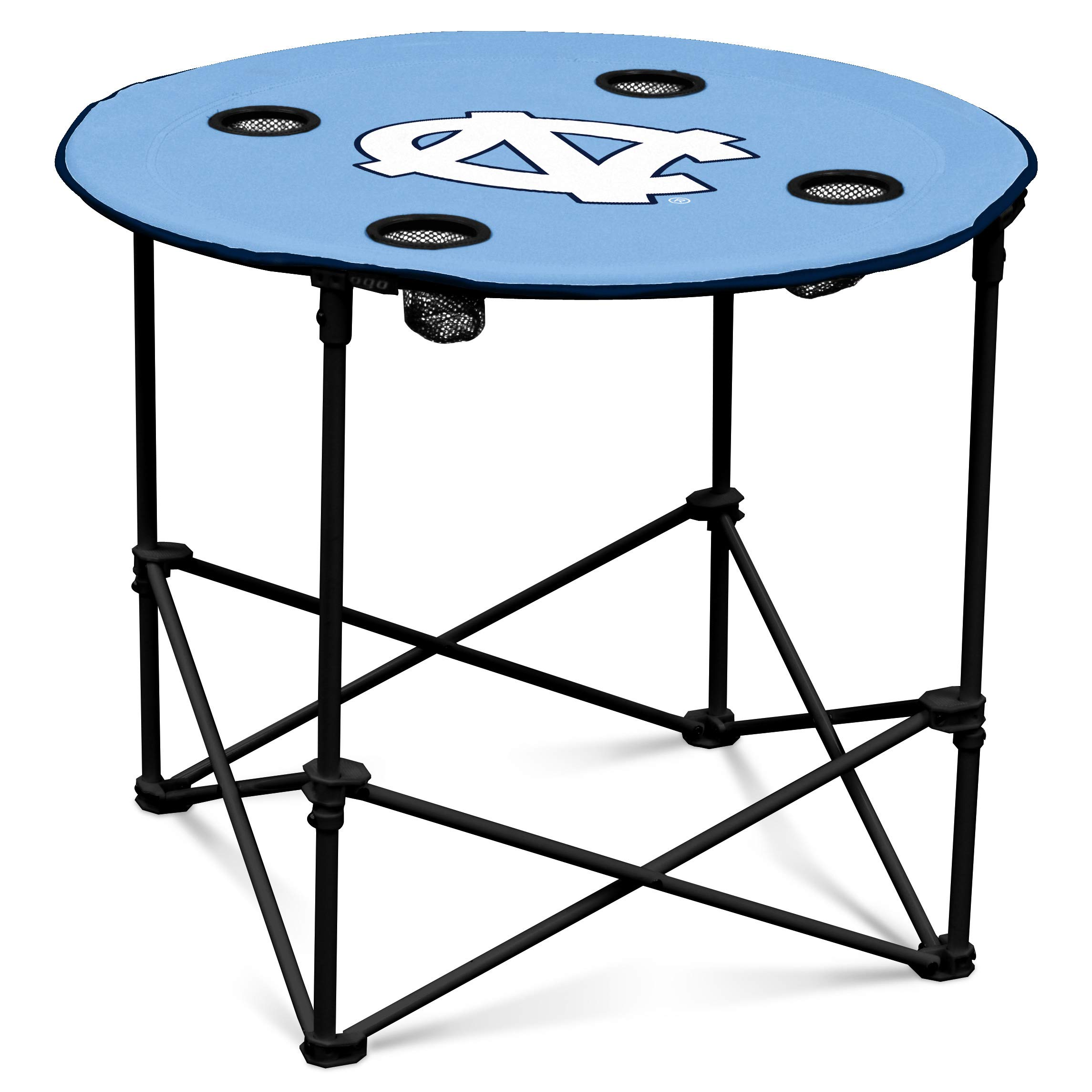North Carolina Tarheels Collapsible Round Table with 4 Cup Holders and Carry Bag by Logo Brands