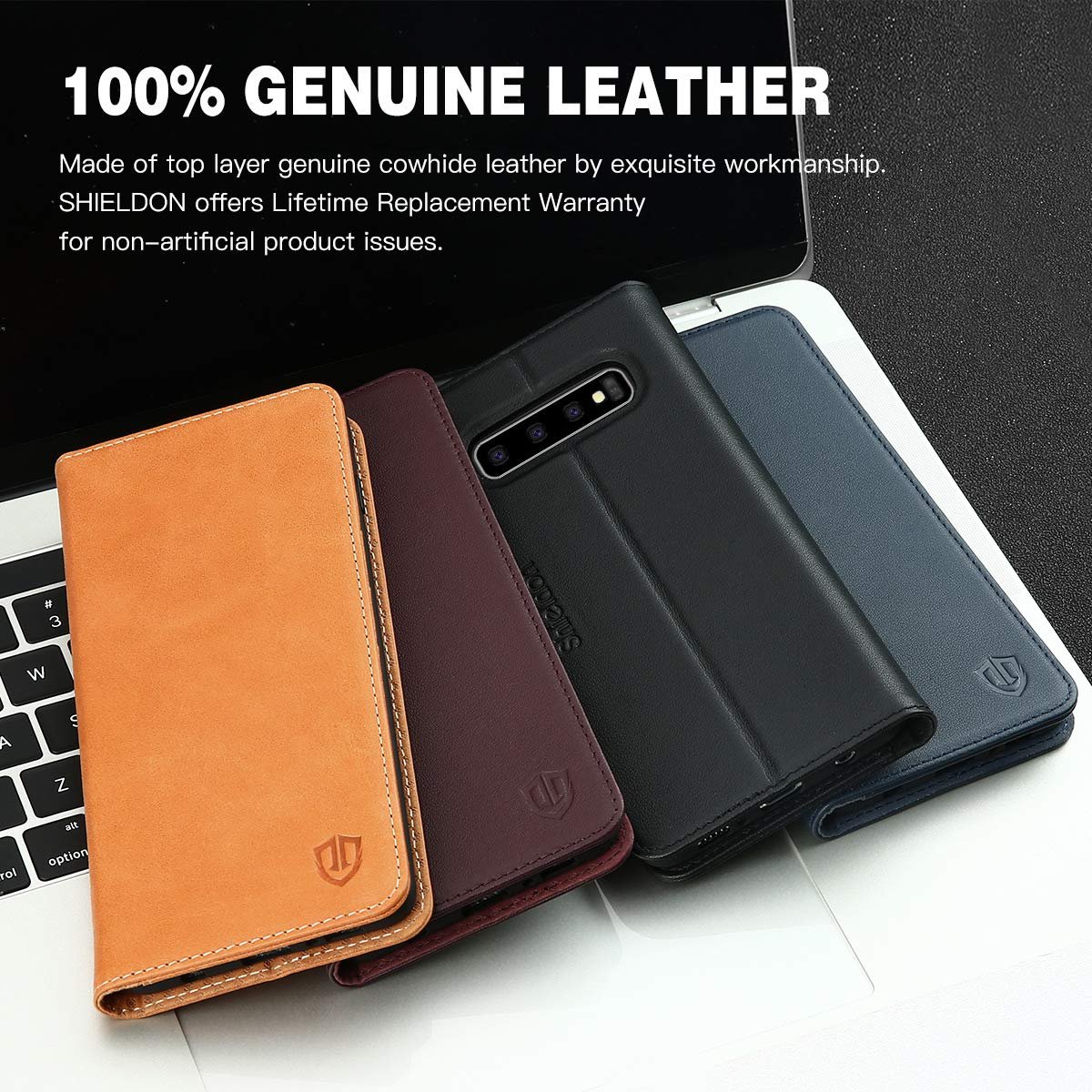Galaxy S10 Plus Case Full Protection Case Compatible with Galaxy S10 Plus SHIELDON Genuine Leather S10+ Plus Wallet Case with Magnetic Folio Flip Cover Credit Card Holder - Dark Blue 6.4 Inch