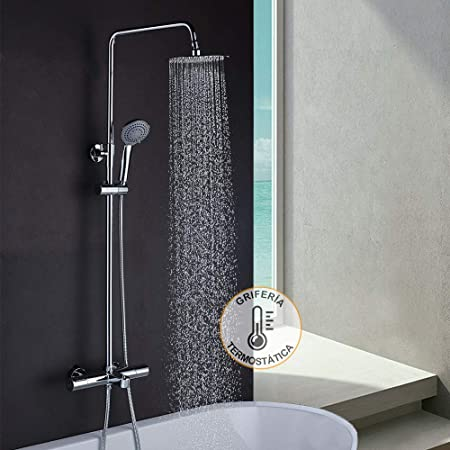 Columna de ducha termostática extralarga GAS diseño redondo. Tubo ...