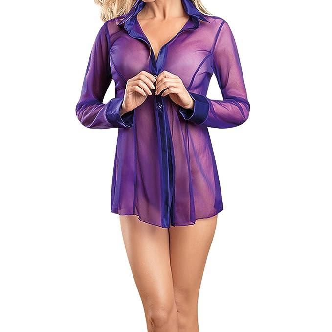 Eleery Damen Sexy Boyfriend Style Chiffon durchsichtig Bluse Hemd ...