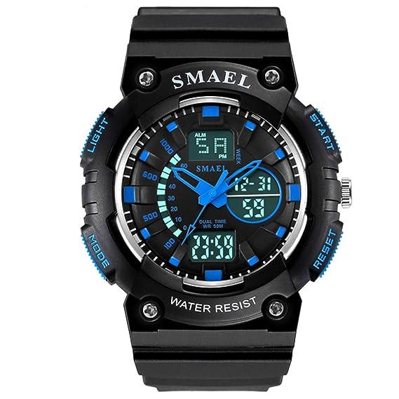 Beydodo Reloj Despertador Relojes Niño Reloj Deportivo Reloj Hombre Luminoso Relojes Niño y Niña Reloj Impermeable Relojes Electronicos Negro Azul-D: ...