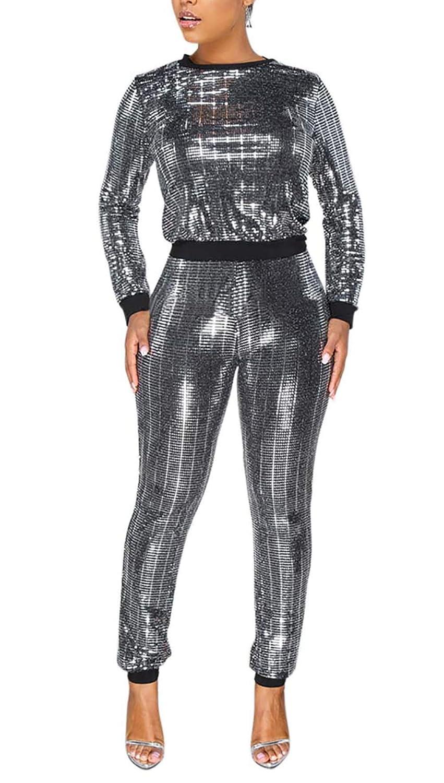 2 Piece Night Clubwear Outfits for Women Long Sleeve Top and Metallic Shiny Pants Glitter Clubwear