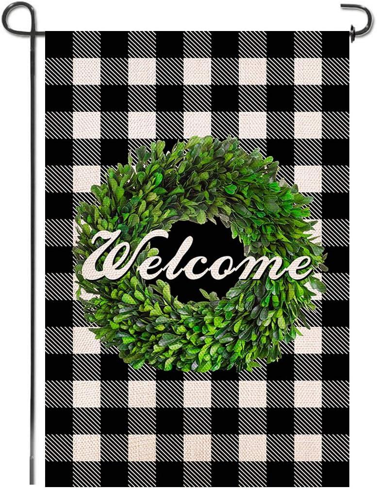 Shmbada Welcome Boxwood Wreath Buffalo Check Plaid Burlap Garden Flag, Double Sided Premium Material, Seasonal Fall Decor Outdoor Decorative Flags for Yard Lawn Patio Farmhouse, 12.5 x 18.5 inch