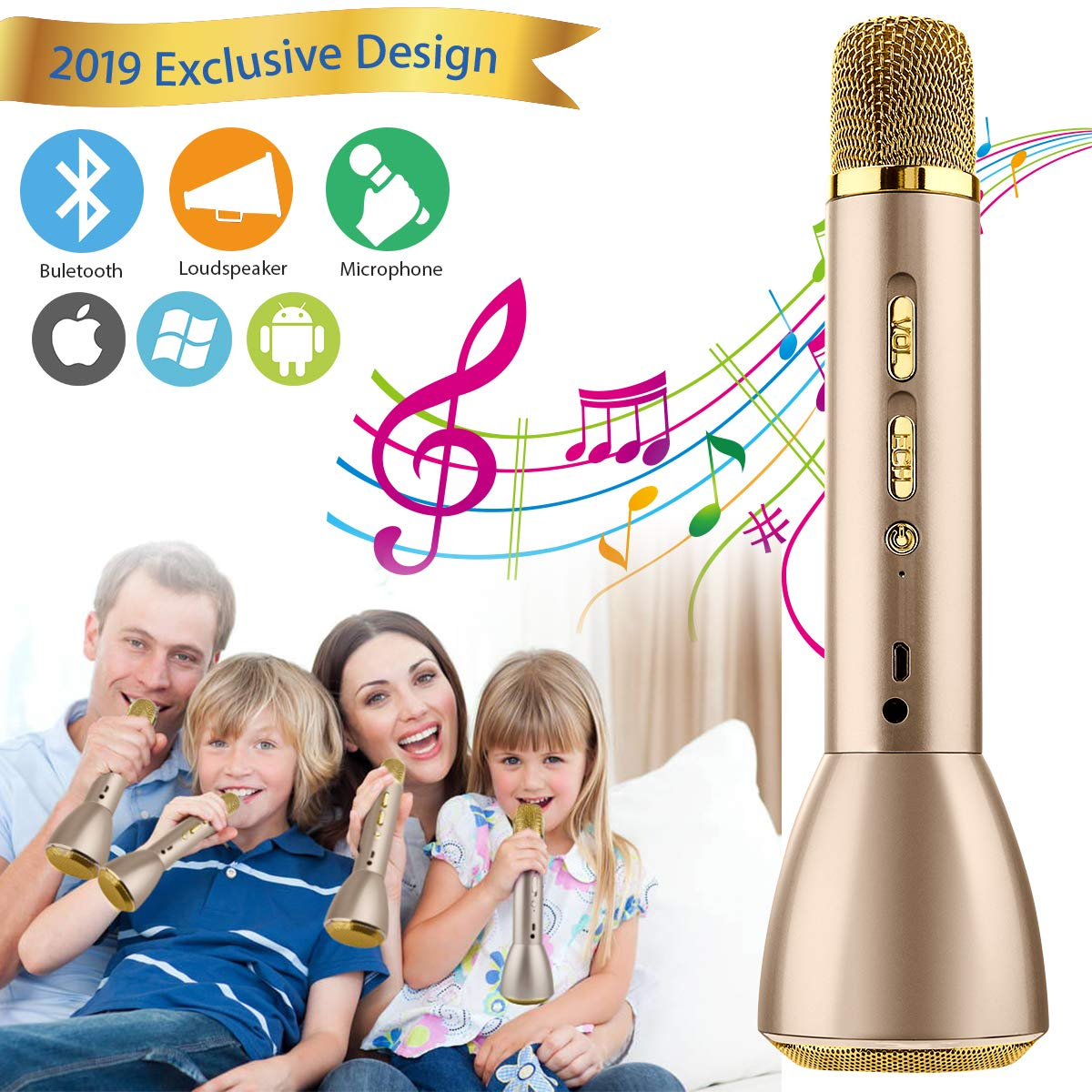 Wireless Karaoke Microphone for Kids, Kids Microphone Bluetooth Child Echo Mic Portable Karaoke Machine Cordless with Speaker for Boys Girls Adult Party Music Singing Android iOS Phones(Gold) by Adhope