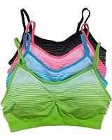 B.BANG 4-Pack Women Sports Bra Push Up Striped Bras Seamless T shirt Sports Bra