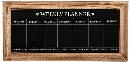 Pizarra Planificadora semanal, marco de madera natural Estilo Shabby Chic (puede no estar en español)