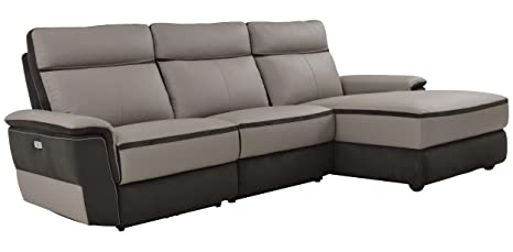 Stupendous Homelegance Laertes Two Tone Power Reclining Sofa With Right Side Chaise Top Grain Leather Fabric Match Light Grey Squirreltailoven Fun Painted Chair Ideas Images Squirreltailovenorg