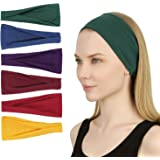 Sea Team 6-Pack Sports Workout Headbands Soft Elastic Yoga Running Fitness Hairbands for Women