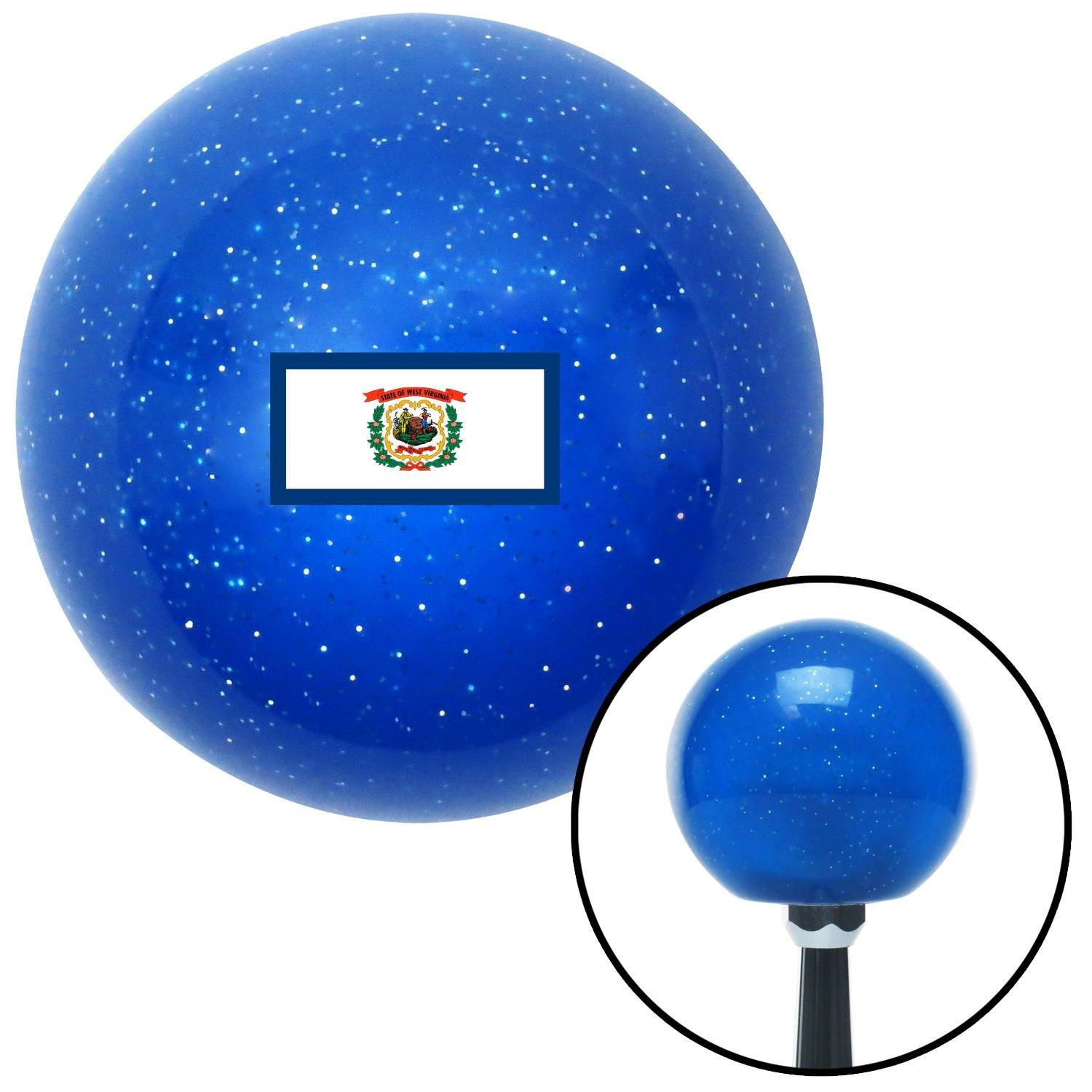 West Virginia Blue Metal Flake with M16 x 1.5 Insert American Shifter 302423 Shift Knob
