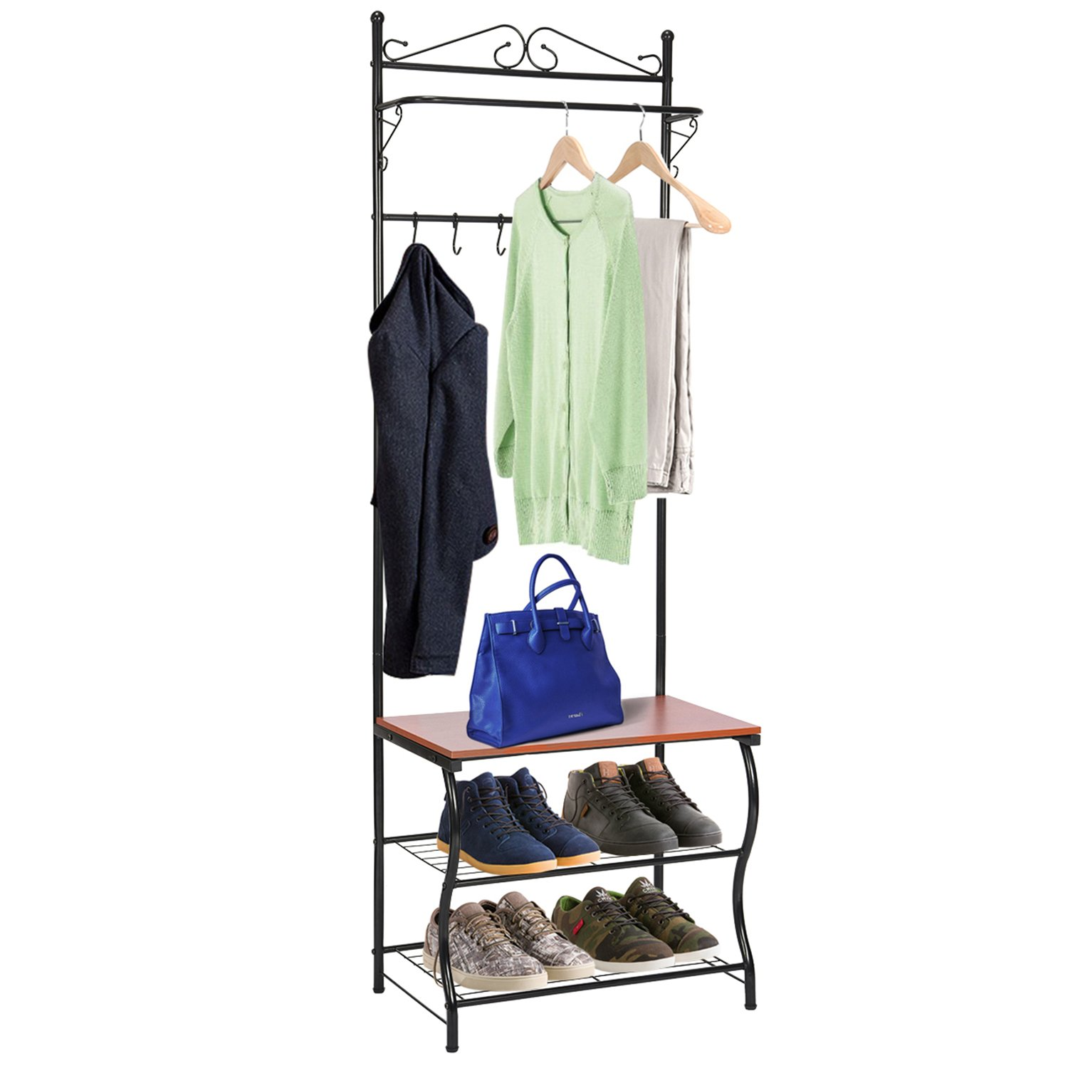 Entryway Bench with Coat Rack, MaidMAX Shoe Coat Rack Hall Tree with 3-Tier Shoe Bench Shelves, 5 Hooks & Hanging Bar for Entryway Storage, Black Finish 903046