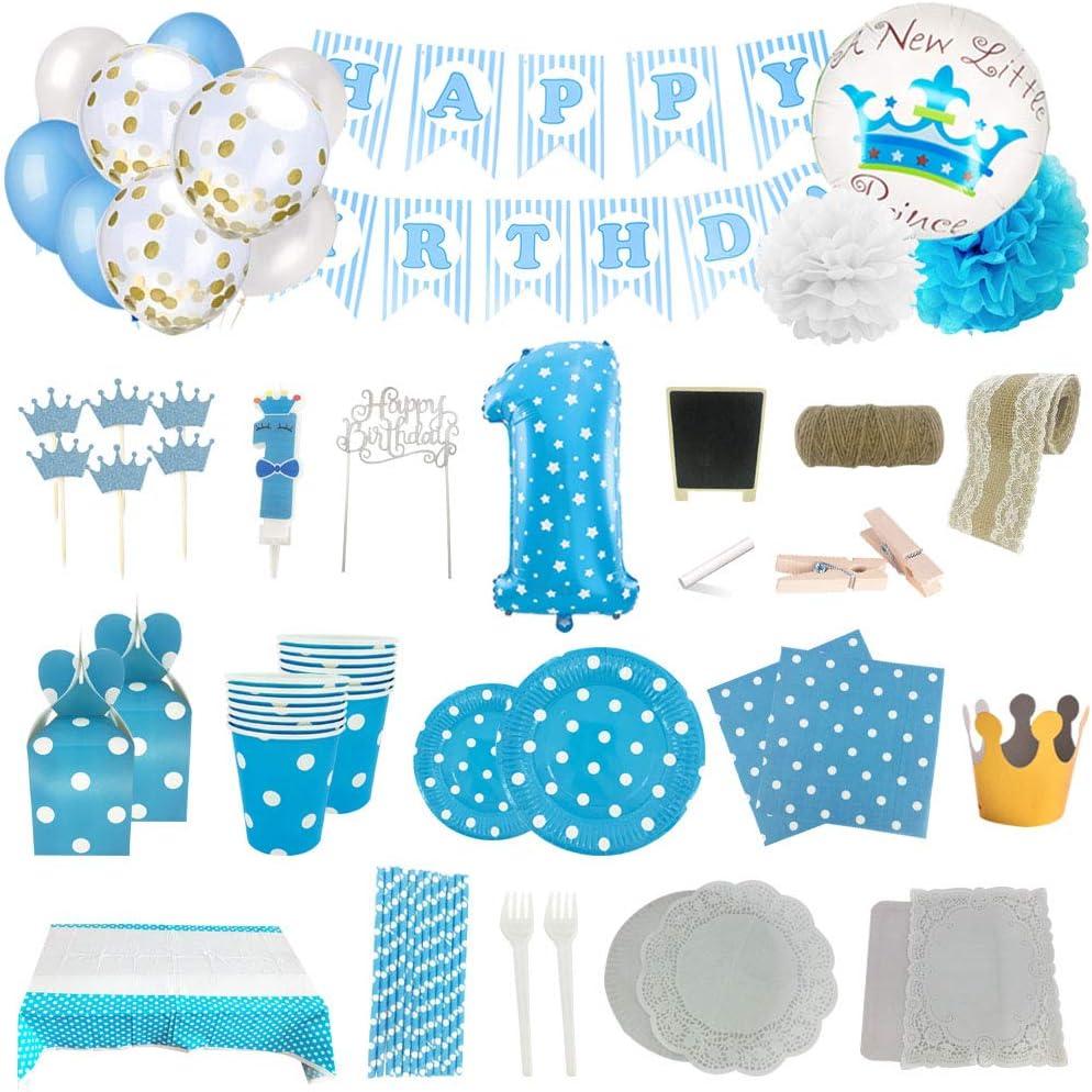 Set de Artículos Accesorios Completo para Decoración Fiestas Cumpleaños Bebé Lote Sirve 16 Invitados (Niño de 1 años)