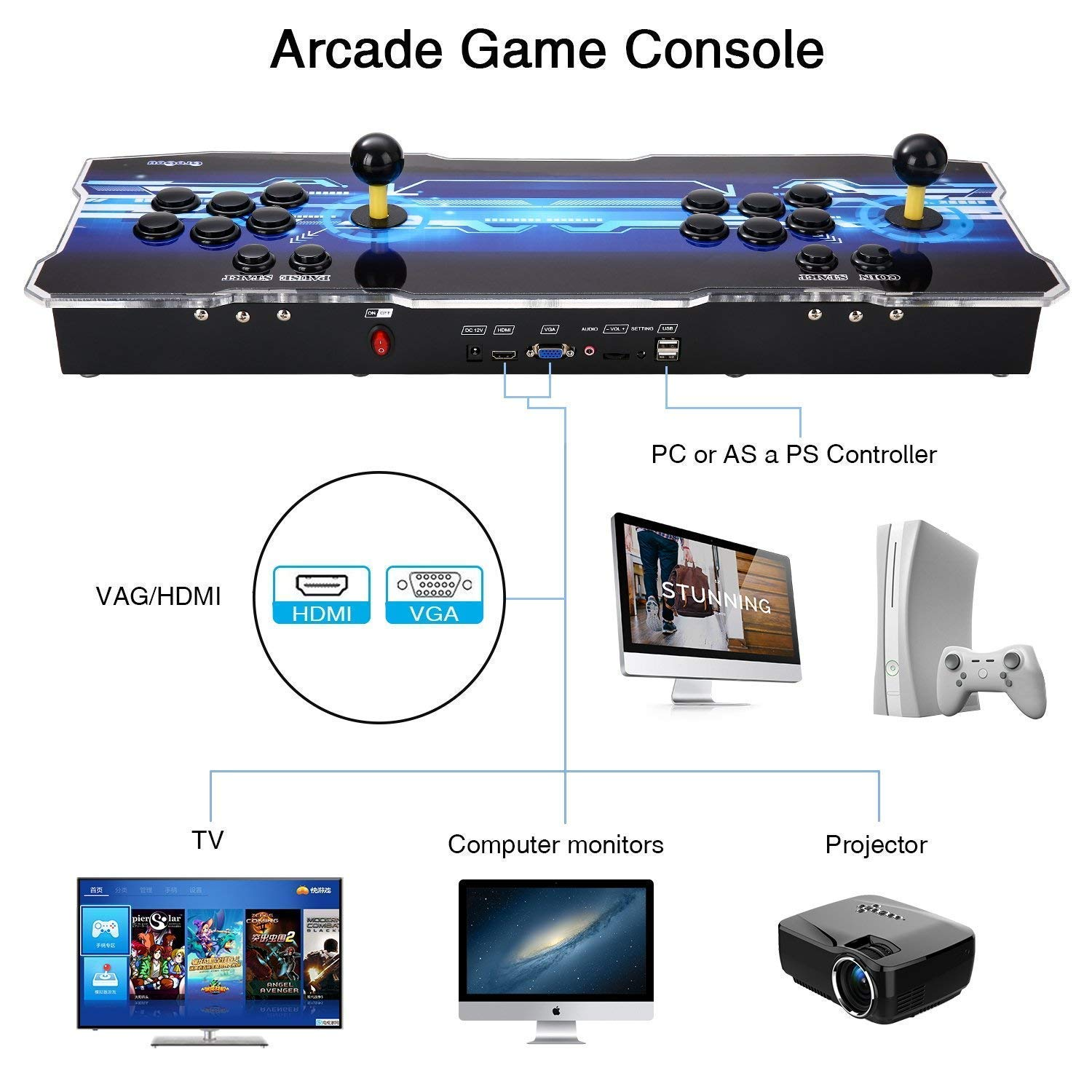 [2350 HD Retro Games] 3D Pandoras Box Arcade Video Game Console 1080P Game System with 2350 Games Supports 3D Games (Black) 1920x1080 by TanDer (Image #5)