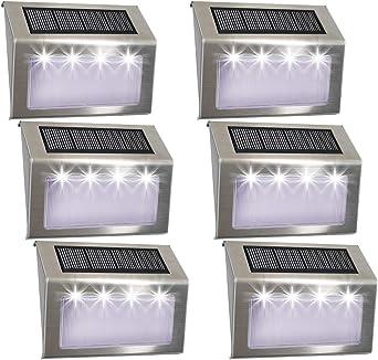 Luces Solares para Exterior Jardín 4 LED Easternstar, Lámparas Solares impermeable IP44 Exterior, Solar Panel del acero inoxidable, 4 LEDs Ilumina a las escaleras, pared,patio y jardín etc 6 unidades: Amazon.es: Iluminación