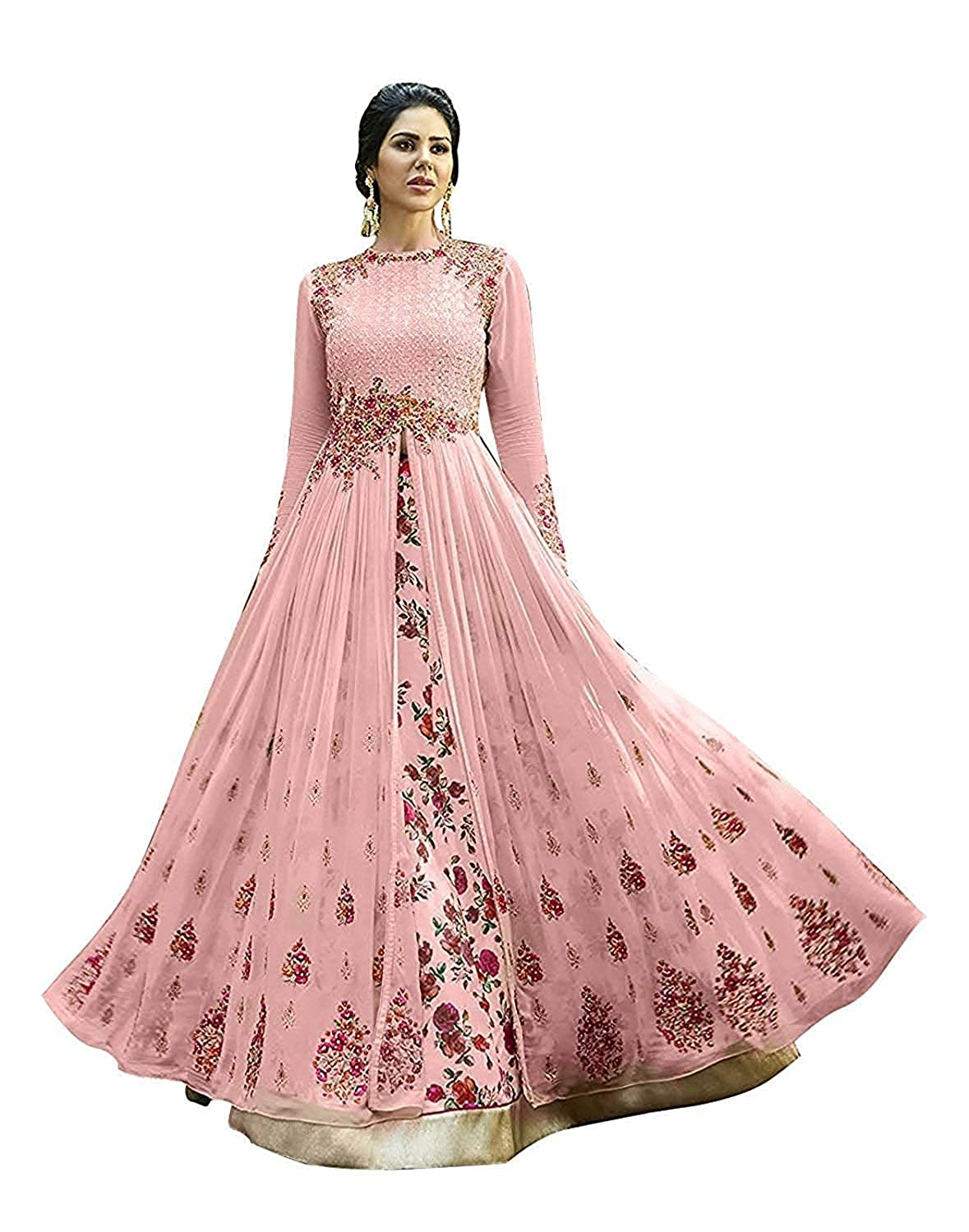 de1f1bc4d2 7 Horse selection Women's Georgette Party Wear Gown (Pink, Free Size):  Amazon.in: Clothing & Accessories