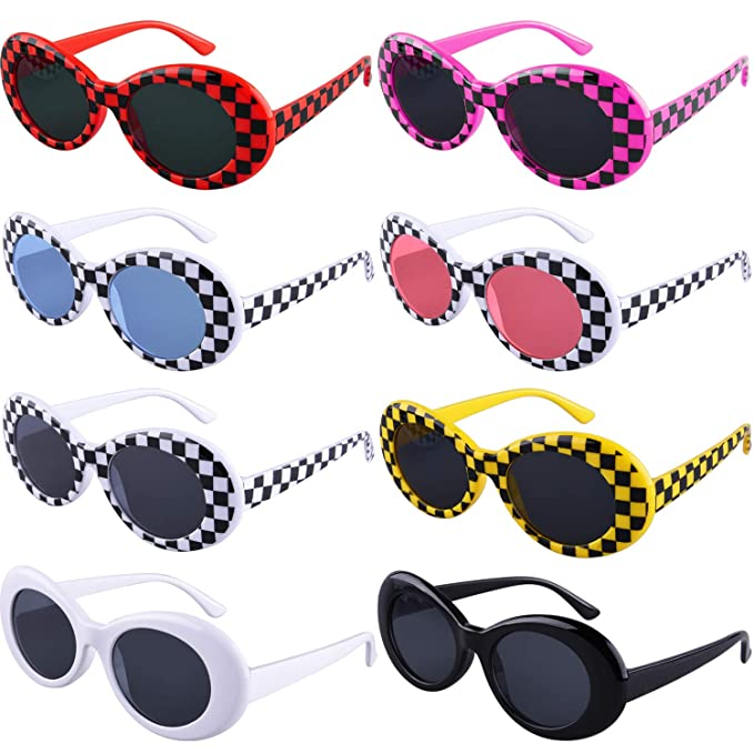 ba013462bc6 SIQUK 8 Pairs Clout Goggles Oval Sunglasses 8 Colors Thick Frame Round Lens Sunglasses  Retro Kurt