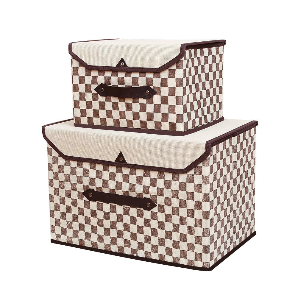 Fabric Storage Bin,Closet Storage Box,Simple and Stylish,Grid Design,Brown(Set of 2)