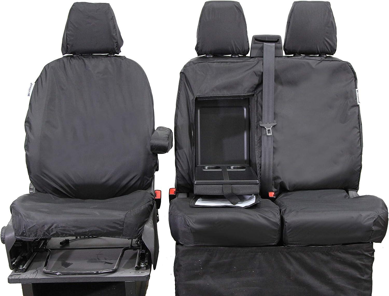 Waterproof Seat Cover Co Wsc5101 Maßgeschneiderte Wasserdichte Robuste Sitzbezüge Für Ford Transit Custom Einzel Und Doppel Set Schwarz Auto