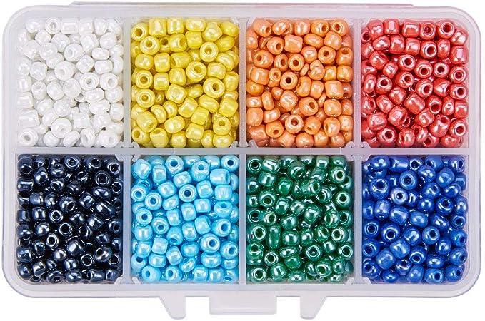Mixte Couleurs et Tailles en verre ronde perles de rocaille pour crafts ou bijoux Making 2