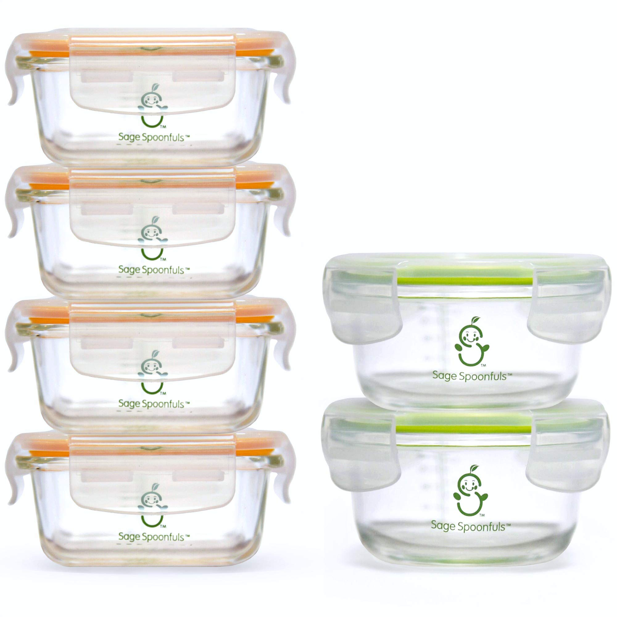 Sage Spoonfuls Tough Glass Combo Set Baby Food Storage Containers