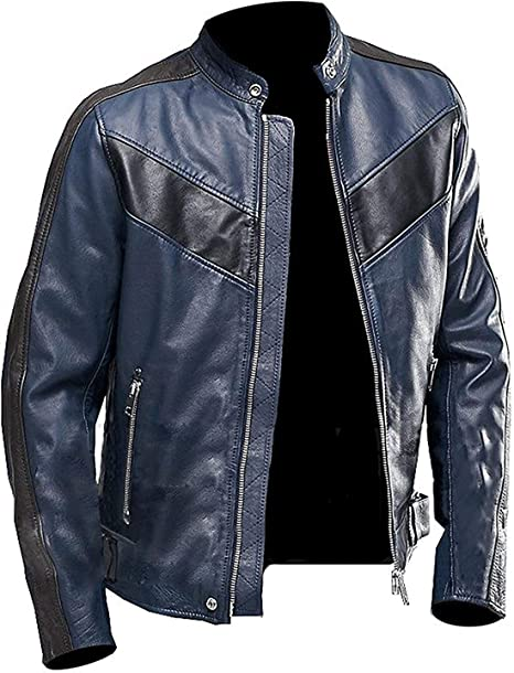 Cling Outfitters Mens Faux Leather Jacket Mens Leather Jacket Blue