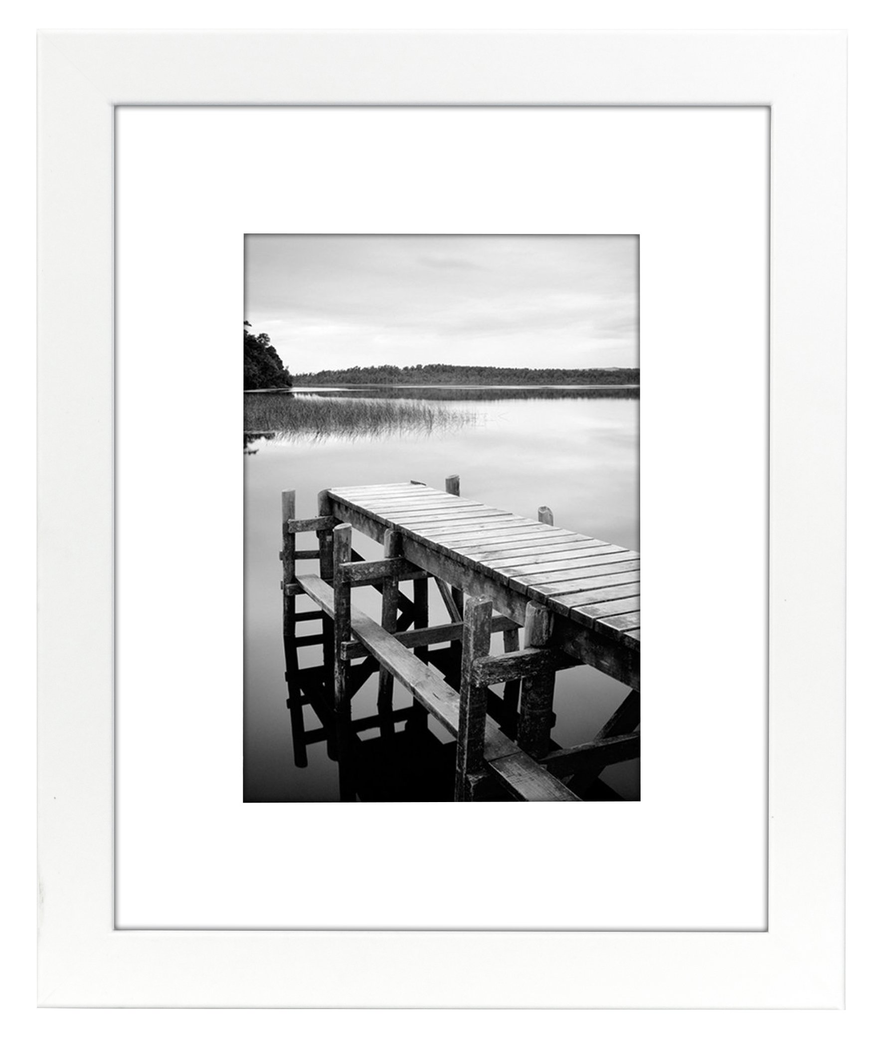 Americanflat 8x10 White Picture Frame - Matted to Display Photographs 5x7 or 8x10 Without Mat - Highest Quality Materials - Ready to Display on Table Top