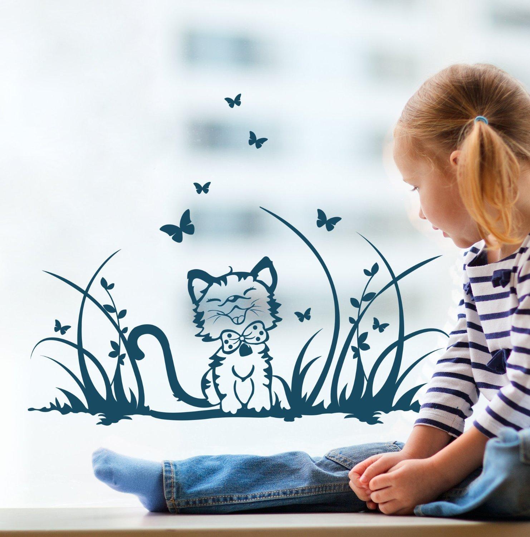 ilka parey wandtattoo-welt Fensterbilder Kinder Frühling Kinderzimmer Katze Kätzchen Wiese Schmetterlinge M1369f
