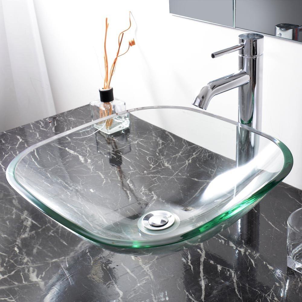 Aquaterior Bathroom Tempered Glass Vessel Sink Natural Clear Square Shape Transparent Basin Amazon Com