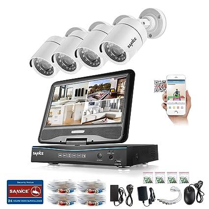 SANNCE Kit de seguridad con monitor de 10.1 pulgadas 4 cámaras de vigilancia (H.