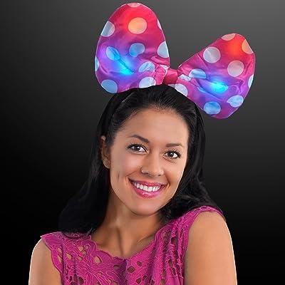 FlashingBlinkyLights Light Up Pink Polka Dot Soft Bow Headband: Toys & Games