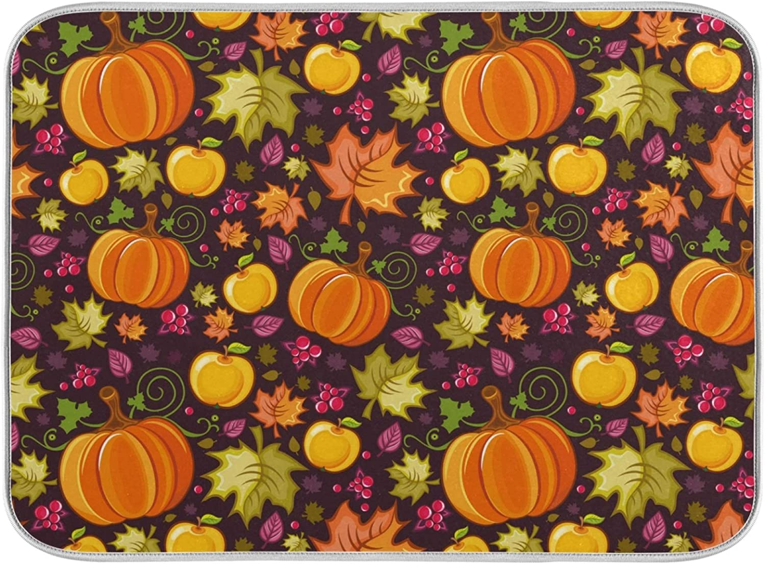 Qilmy Autumn Pumpkin Cherry Apple Dish Drying Mat Tableware Absorption Water Mats Home Decoration Drying pad for Kitchen Countertop-18X24 Inch