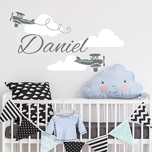 Personalized Boy Name Wall Decal Airplane Clouds Boys Name Decals Wall Sticker Nursery Vinyl Biplane Baby  sc 1 st  Amazon.com & Amazon.com: Personalized Boy Name Wall Decal Airplane Clouds Boys ...