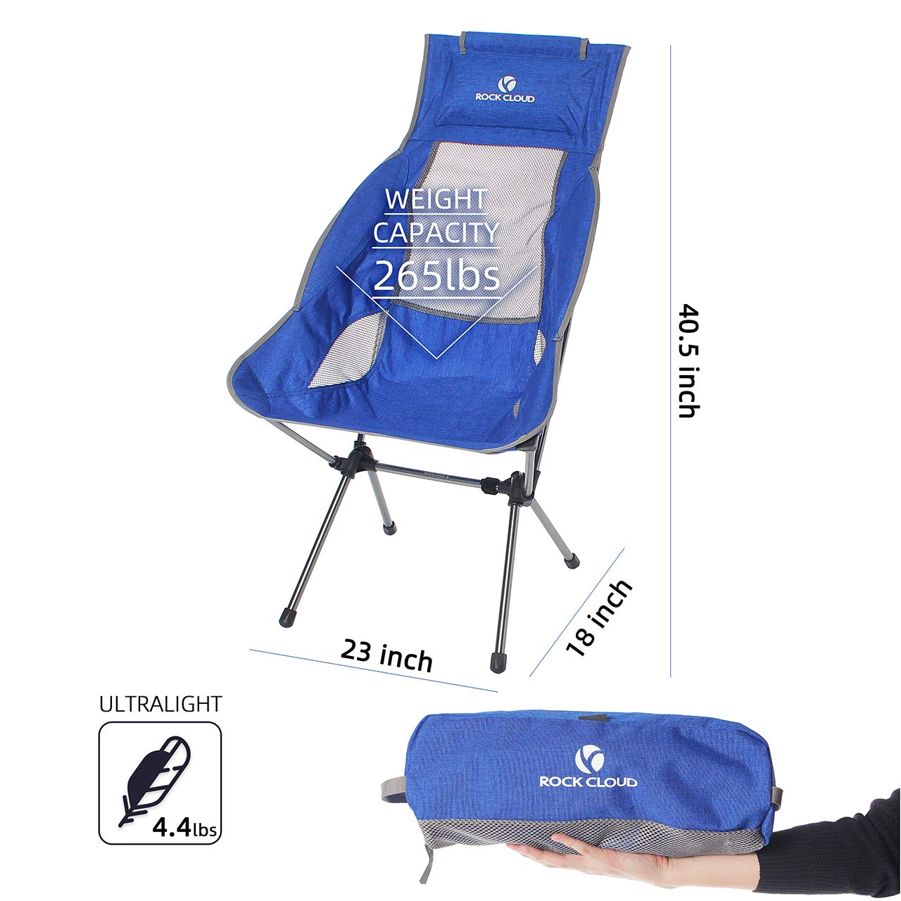 ROCK CLOUD Portable Camping Chair Ultralight High Back Folding Chairs Outdoor for Camp Hiking Backpacking Lawn Beach Sports Blue