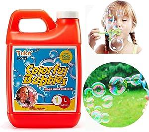 Tuko Bubble Solution Refill (up to 2.3 Gallon) Big Bubble Solution 30 Ounce Concentrated Solution for Bubble Machine, Easter