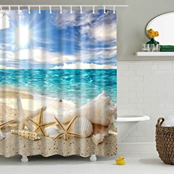 ABxinyoule Beach Starfish Shower Curtain Seashell Polyester Fabric Ocean  Blue Sky Sunshine Bathroom Decal