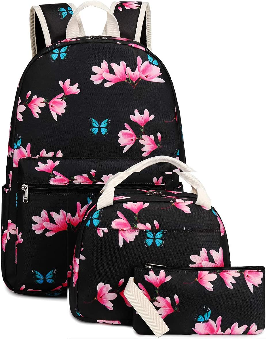Bookbag Girls School Backpack Floral Cute Schoolbag for 15 inch Laptop backpack Insulation Lunch Bag set (Floral Butterfly-black)