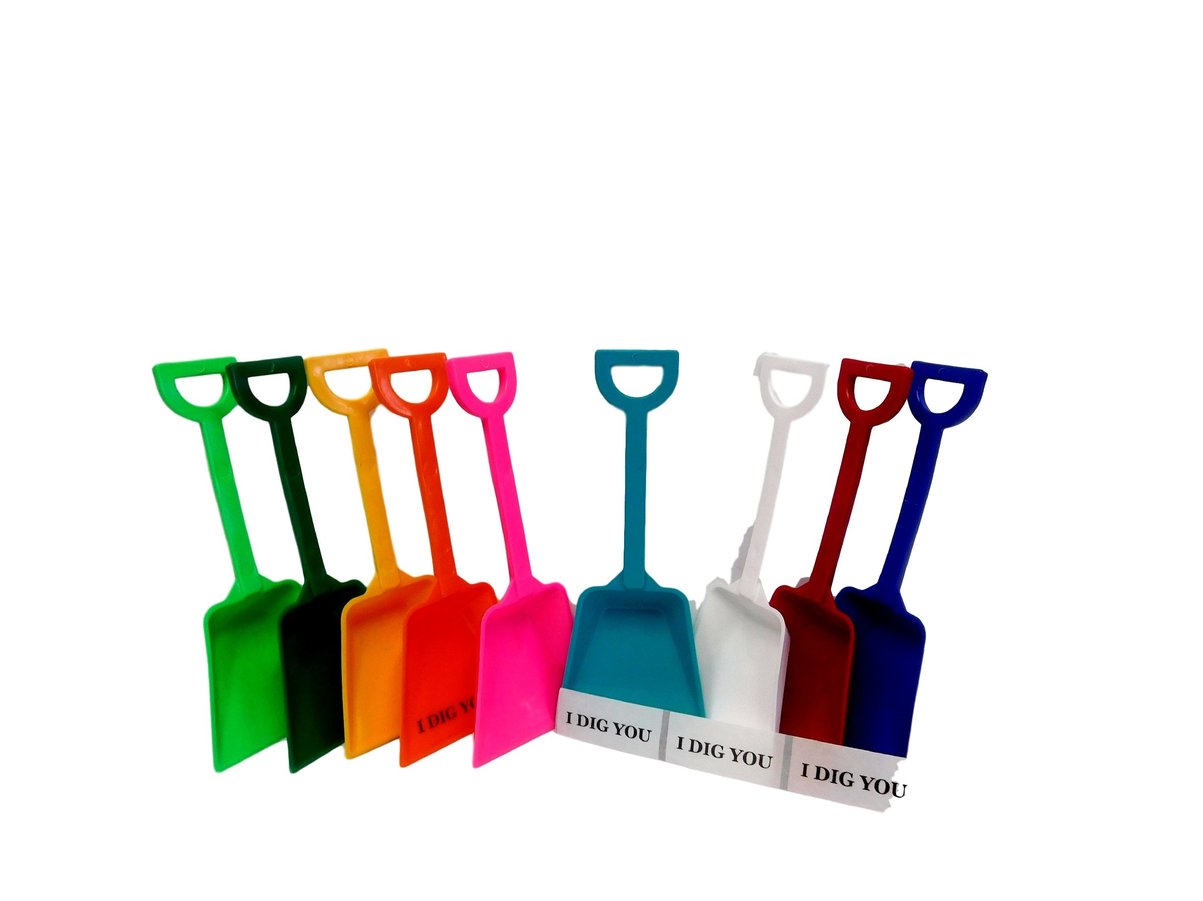 Small Toy Plastic Shovels, Wholesale Lot, Pack 500, Mix of Colors & I Dig You Stickers