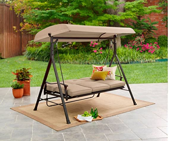 Amazon.com : Mainstay* 3 Seat Porch U0026 Patio Swing (Tan) (Tan) : Garden U0026  Outdoor
