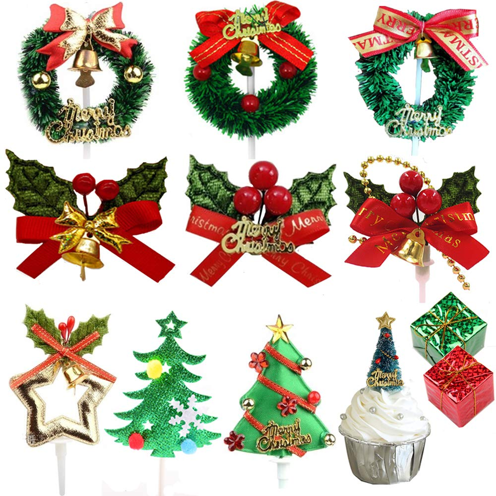 Parties or Special Occasions Birthday Nuluxi Christmas Themed Cake Topper Decoration Christmas Gift Box Cupcake Toppers Plastic Toothpick Cupcake Toppers Ideal for Childrens and Adults Christmas