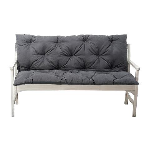 4L Textil Gartenbankauflage Bankauflage Bankkissen Sitzkissen Polsterauflage Sitzpolster (150x60x50, Graphit)