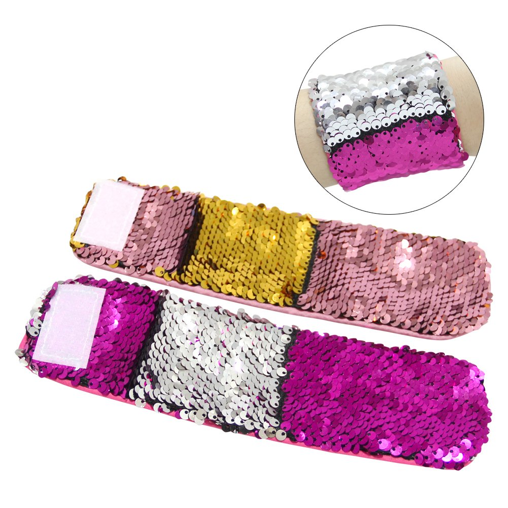 ICOSY 2PCS Mermaid Bracelets Magic Reversible Sequin Bracelets Slap Wristbands Bling Bands Glitter Bangles for Kids Adults