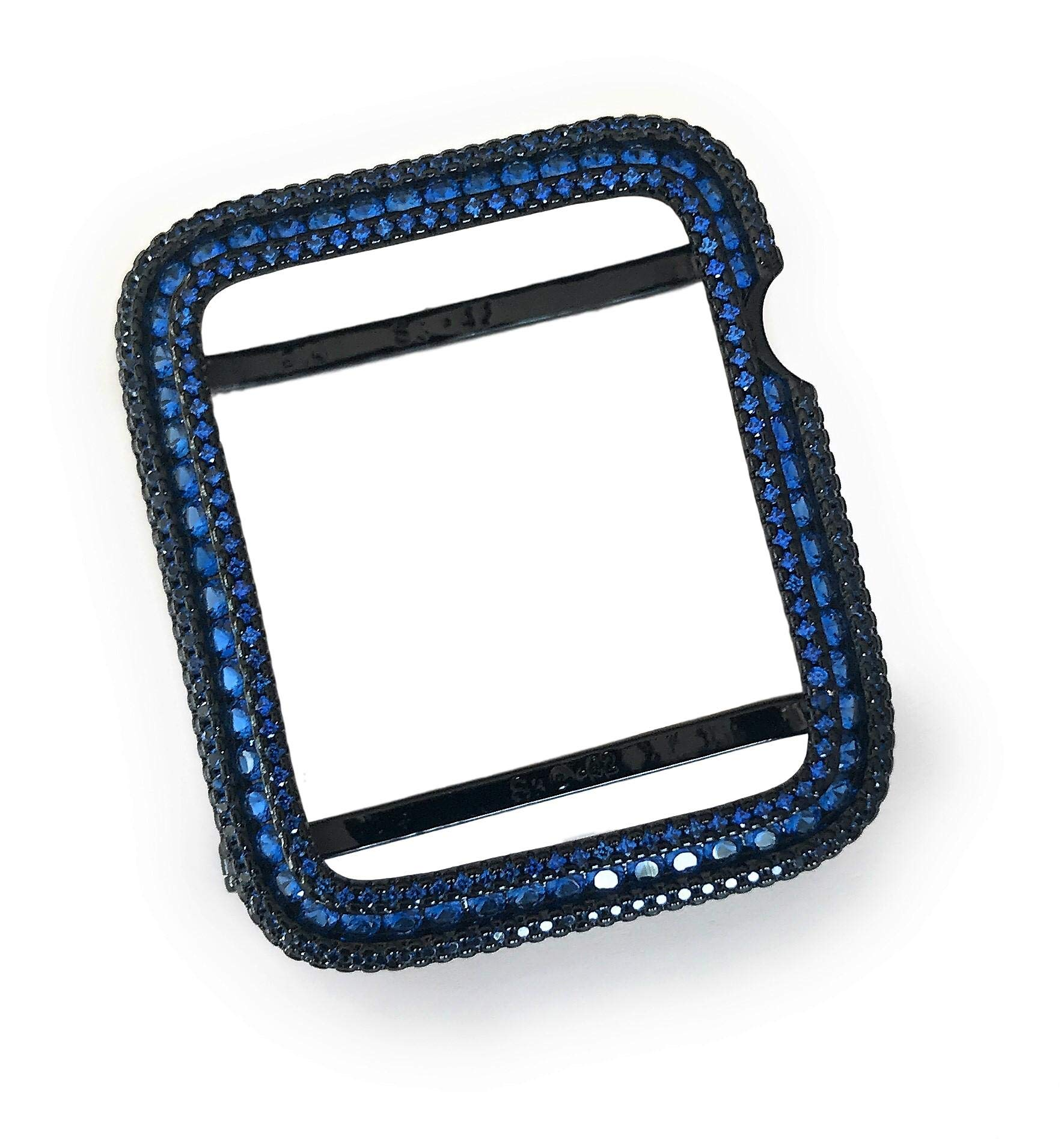 EMJ Bling Apple Watch Series 2/3 Bezel Case Face Cover Blue Lab Diamond Zirconia Black 38/42 mm (42, Series 3 (Non -Ceramic))