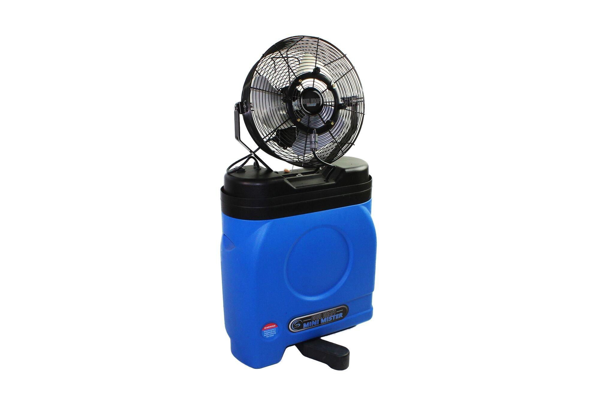 Ventamatic CDMP 1420BLU 14'' Premium Blue Misting Fan, 20 Gal Cooler, Black