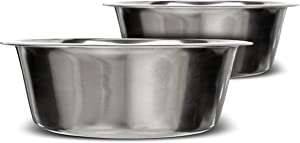 Neater Pet Brands Stainless Steel Dog and Cat Bowls (2 Pack) - Extra Large Metal Food and Water Dish (16 Cup)