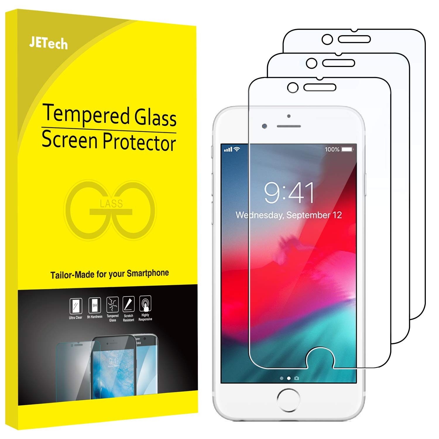 new arrival 93e49 f196e JETech 3-Pack Screen Protector for Apple iPhone 8, iPhone 7, iPhone 6s, and  iPhone 6, Tempered Glass Film, 4.7-Inch