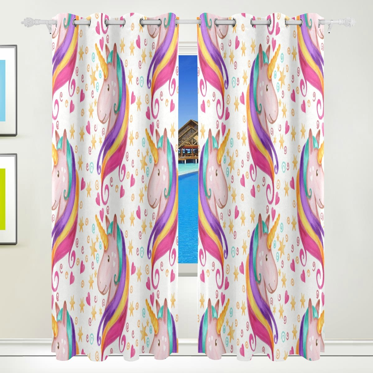 Vantaso Light Shading Window Curtains Rainbow Hair Unicorn With Stars Polyester 2 Pannels for Kids Girls Boys Bedroom Living Room 84 inch x 55 inch