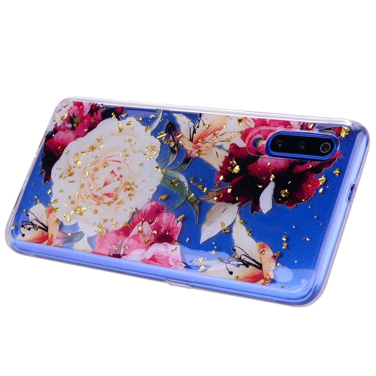 Funda para Samsung A50 Silicona Transparente TPU Flexible Ultra Fina CoverTpu Funda para Samsung A50 Carcasa para Samsung A50 Anti-Rasgu/ño Protectora Case Mariposa Azul